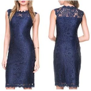 Stanzino Sleveless Navy Lace Midi Dress